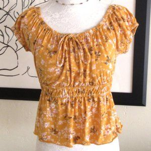 Golden yellow on or off shoulder peasant top Med.